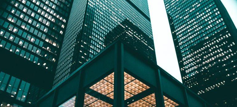 A modern building.