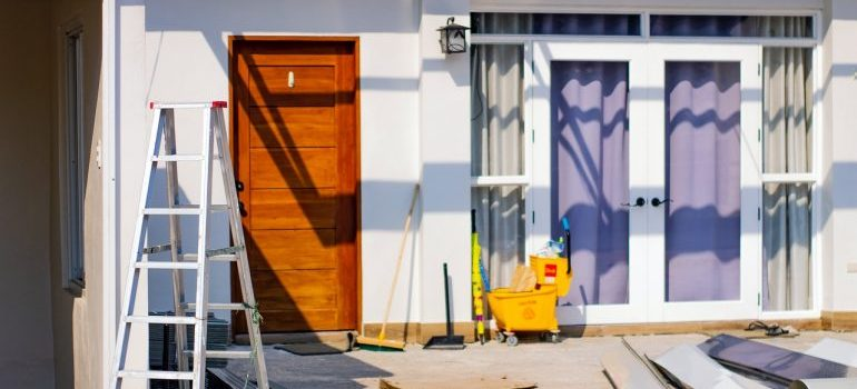 The exterior of a home during remodeling.