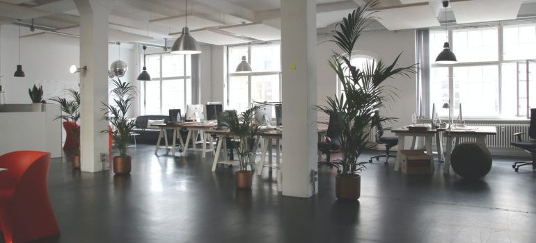 An office space with an open floor plan.