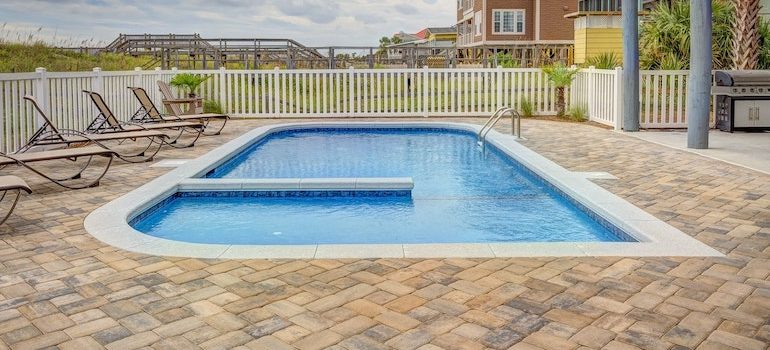 a swimming pool with bricks